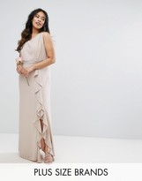 TFNC Plus Wedding Embellished Maxi Dress With Frill Detail