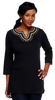 As Is Denim & Co. Knit Gauze Embroidered 3/4 Sleeve Tunic