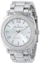 Peugeot Women's All Silver Boyfriend Oversized Watch with Swarovski Crystal Bezel Metal Link Bracelet 7075S