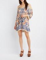 Charlotte Russe Floral Crochet-Trim Cold Shoulder Dress