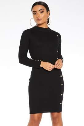 Quiz Black Button Detail Jumper Dress