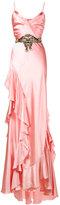 Gucci ruffle slip gown - women - Silk/Polyester/Viscose - 42