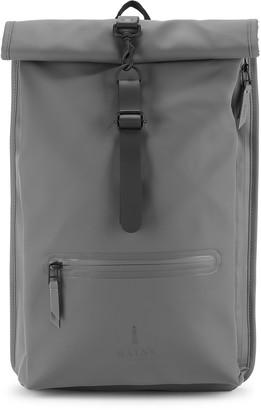 Rains Rolltop Grey Rubberised Backpack
