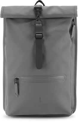 Rains Rolltop grey rubberised backpack
