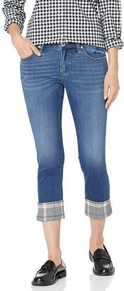 Jag Jeans Women's Petite Carter Girlfriend Jean w/Plaid Cuff
