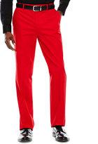 Jf J.Ferrar Men's JF Stretch Red Cotton Flat-Front Straight-Leg Slim-Fit Pants