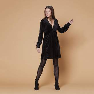 Derhy Short Flared Wrapover Effect Dress with Long Sleeves