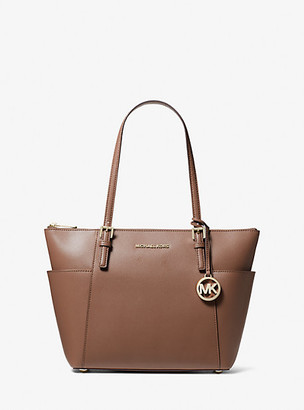 MICHAEL Michael Kors MK Jet Set Large Crossgrain Leather Top-Zip Tote - Dark Fawn - Michael Kors