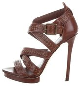 Brian Atwood Leather Crossover Sandals