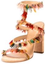 Chloé Suede Sandal with Colorful Fringe, Reef Shell