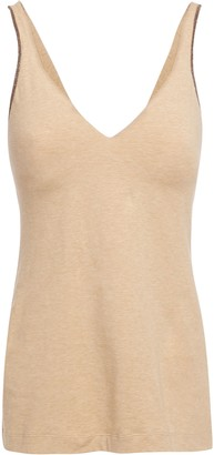 Brunello Cucinelli Bead-embellished Melange Stretch-cotton Tank