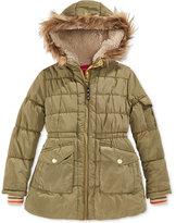 London Fog Little Girls' Stadium Puffer Coat with Faux Fur Trim