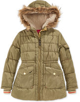 London Fog Stadium Puffer Coat with Faux Fur Trim, Big Girls (7-16)