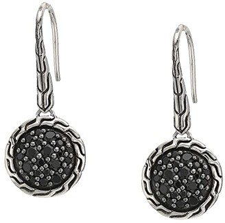 John Hardy Classic Chain Round Drop Earrings on French Wire w/ Black Sapphire and Black Spinel (Silver) Earring
