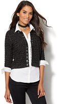 New York & Co. 7th Avenue - Braided Faux-Leather Lurex Cardigan
