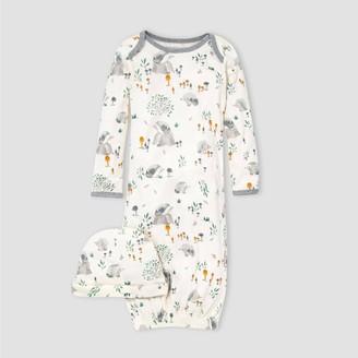 Burt's Bees Baby Burt' Bee Baby® Baby Organic Cotton Hedgehog Foret Nightgown with Cap - White 0-6M