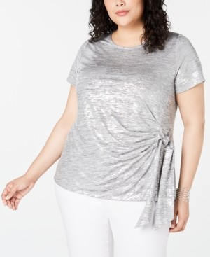 INC International Concepts Inc Plus Size Side-Tie Shine Top, Created for Macy's