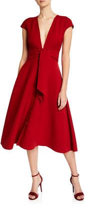 Oscar de la Renta V-Neck Tie-Waist Short-Sleeve Dress