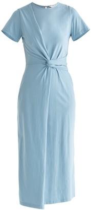 Paisie Ivy Twist Dress In Light Blue