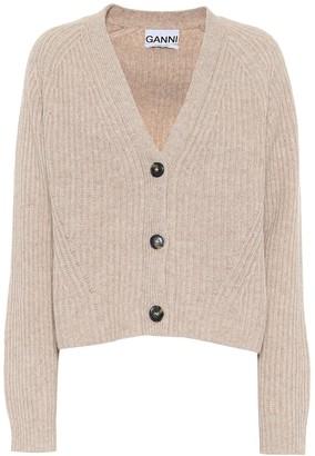 Ganni Cropped wool-blend cardigan