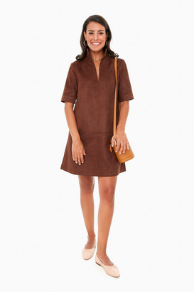 Dark Brown Suede Stand Collar Clifton Dress