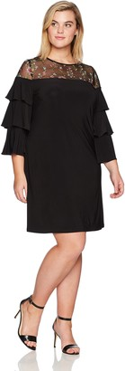 Julian Taylor Women's Size Embroidered Shift Dress with Ruffle Sleeves Plus