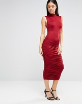 AX Paris High Neck Ruched Midi Dress