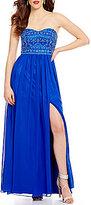 B. Darlin Strapless Beaded Sweetheart Bodice Long Dress