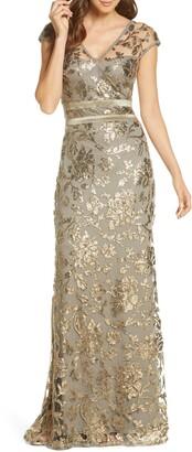 Tadashi Shoji Sequin Lace A-Line Gown