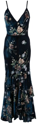 Marchesa Floral Embroidered Cocktail Dress