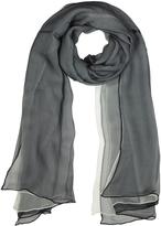 Laura Biagiotti Black and White Double Chiffon Silk Stole