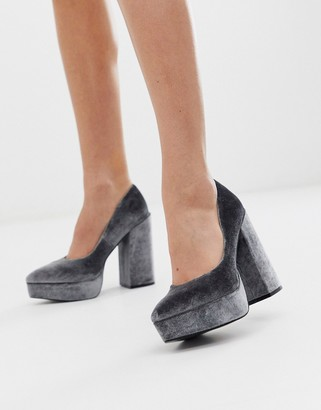 Asos DESIGN Prime chunky platform high heeled court shoes in grey velvet