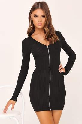 I SAW IT FIRST Black Zip Front Plunge Ribbed Dress