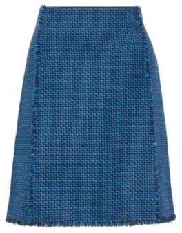 HUGO BOSS A Line Skirt In Two Tone Checked Tweed - Patterned