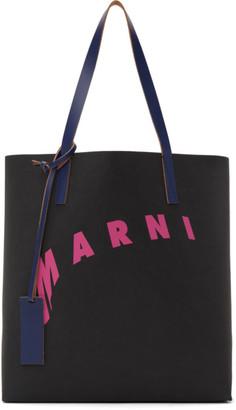 Marni Black and Pink Distorted Logo Tote