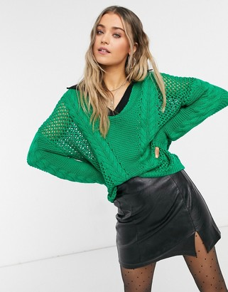 Glamorous oversized knitted jumper in emerald with contrast collar