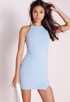 Missguided Square Neck Side Split Bodycon Dress Blue