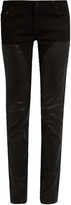 Givenchy Mid-rise skinny-leg leather-panelled jeans