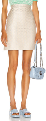 Gucci GG Mini Skirt in Gardenia & Silver | FWRD
