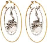Alexander McQueen Pearl Drop Hoop Earring, White, One Size
