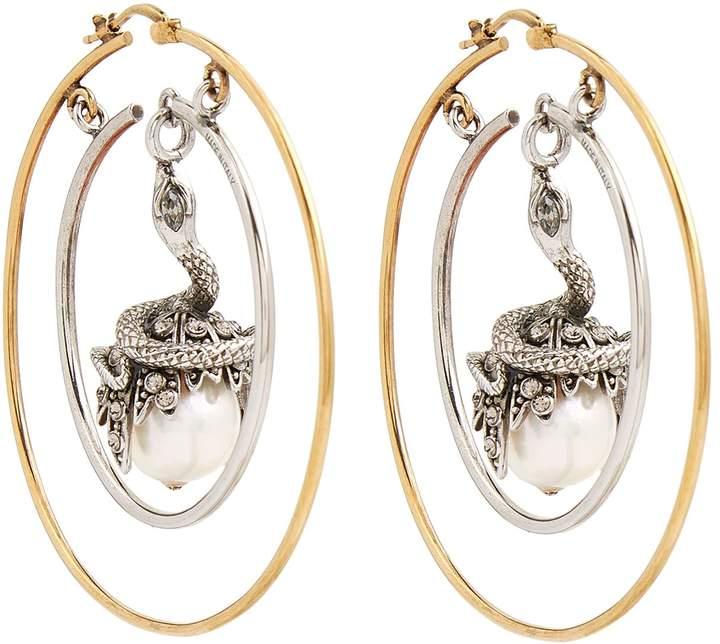 Alexander McQueen Pearl Drop Hoop Earring