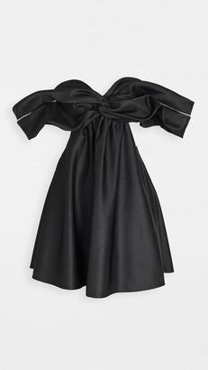 Area Crystal Cutout Draped Dress