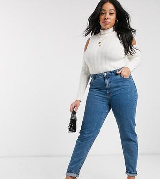 Vero Moda Curve mom jean in medium blue