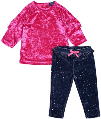 Andy & Evan Crushed Velvet Top & Print Leggings Set