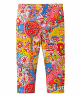 Oilily Pink & Yellow Floral Tiska Leggings - Infant