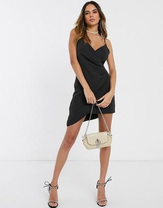 Club L London wrap asymmetric cami mini dress-Black