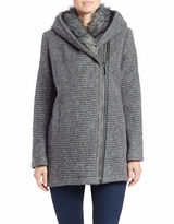 Vince Camuto Faux Fur-Trimmed Asymmetrical Zip Coat