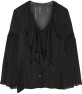 Roberto Cavalli Crochet-trimmed Ruffled Silk-chiffon Shirt - Black