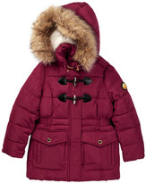 Catherine Malandrino Faux Fur Trimmed Faux Shearling Lining Toggle Bubble Jacket (Little Girls)