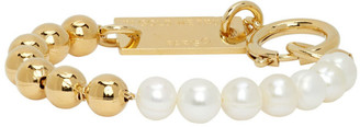 IN GOLD WE TRUST PARIS Gold Ball Chain and Pearls Bracelet